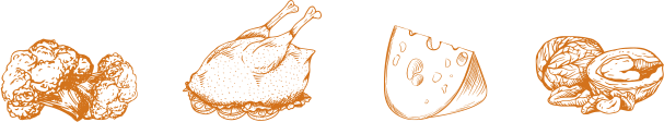Brocoli, poulet rôti, fromage et noix